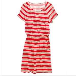 • Madewell • Silk Outlines Striped Dress Red Tan 4
